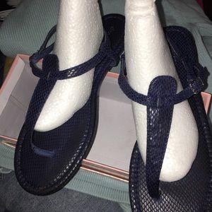 navy faux snakeskin t-strap sandals